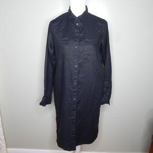 everlane women The Linen shirt dress black SZ 2
